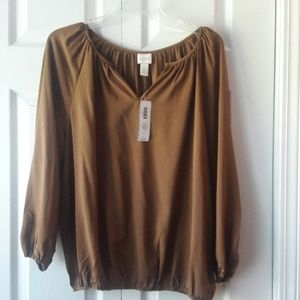 Chico's Brown Peasant top--NWT